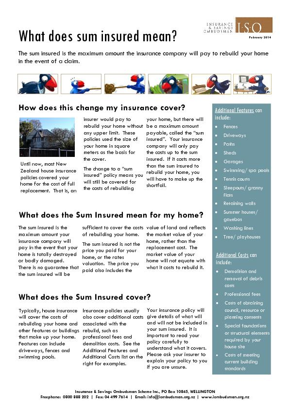 What does the Sum Insured mean for my home? PowerPoint PPT Presentation