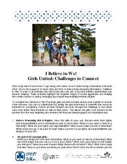 I Believe in We Girls United Challenges to Connect Girls today need to know how