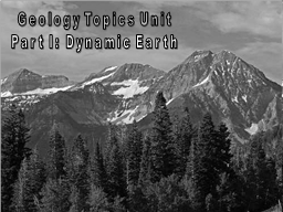 Geology Topics Unit