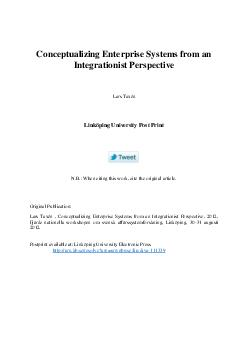 Conceptualizing Enterprise Systems from an