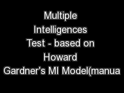 Multiple Intelligences Test - based on Howard Gardner's MI Model(manua