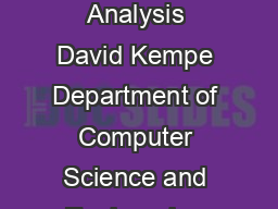 A Decentralized Algorithm for Spectral Analysis David Kempe Department of Computer Science and Engineering University of Washington kempecs
