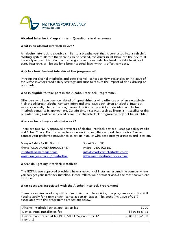 Alcohol Interlock Programme Questions and answersWhat is an alcohol in