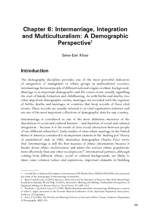 Chapter 6: Intermarriage, Integration and Multiculturalism