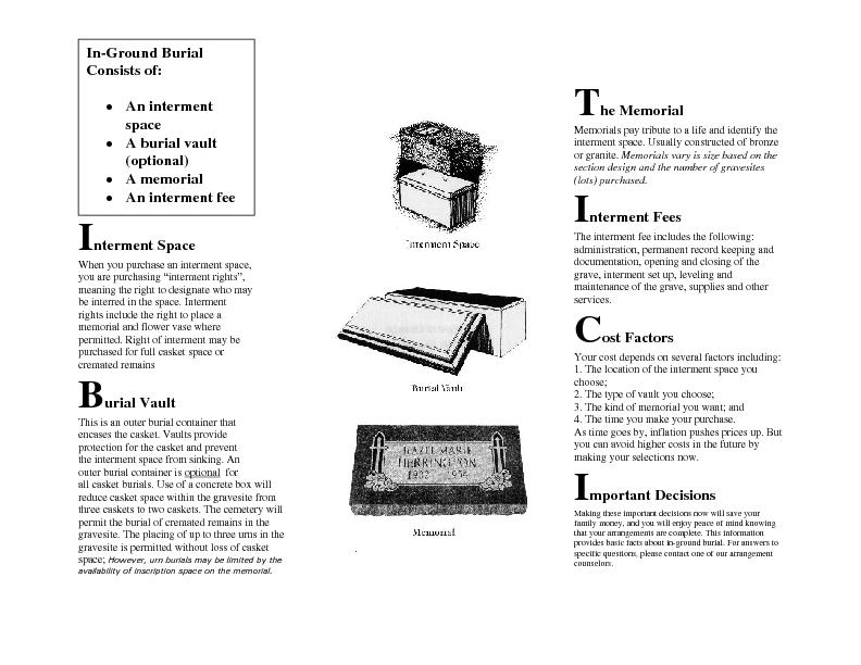 for all casket burials. Use of