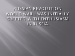 Russian Revolution PowerPoint PPT Presentation