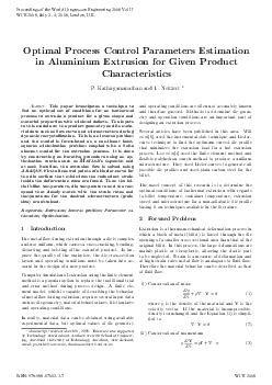 Optimal Pro cess Con trol arameters Estimation in Aluminium Extrusion for Giv en Pro duct Characteristics Kathirgamanathan and T