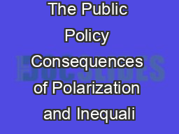 The Public Policy Consequences of Polarization and Inequali