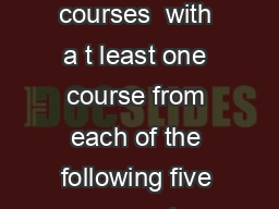 The Flexible Common Core features six liberal arts and sciences courses  with a t least one course from each of the following five areas and no more than two courses in any dis cipline or interdiscip