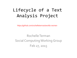 Lifecycle of a Text Analysis Project PowerPoint PPT Presentation