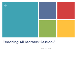 Teaching All Learners: Session 8