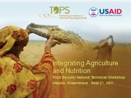 Integrating Agriculture and Nutrition PowerPoint PPT Presentation