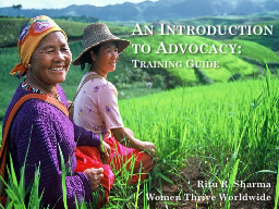 An Introduction to Advocacy: