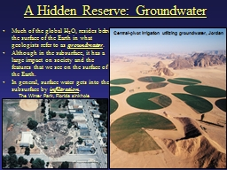 A Hidden Reserve: Groundwater