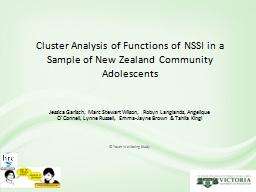 Cluster Analysis of Functions of NSSI in a Sample of New Ze
