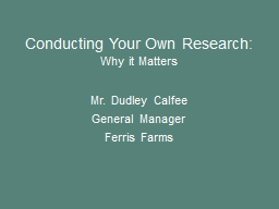 Conducting Your Own Research: