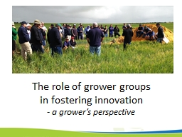 The role of grower groups