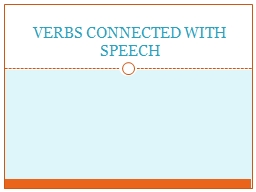 VERBS CONNECTED WITH SPEECH
