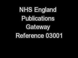 NHS England Publications Gateway Reference 03001