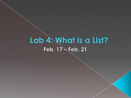 Lab  4: What is a List?