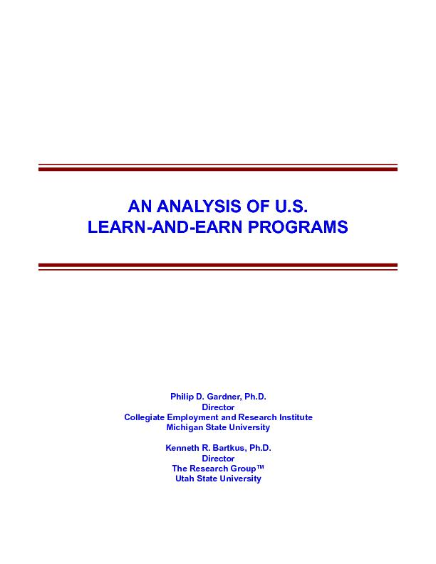 An Analysis of U.S. Learn-and-Earn Programs
