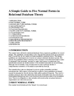 Simple Guide to Five Normal Forms in Relational Database Theory  INTRODUCTION  FIRST NORMAL FORM  SECOND AND THIRD NORMAL FORMS