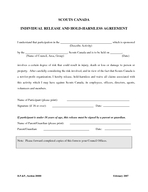 SCOUTS CANADA INDIVIDUAL RELEASE AND HOLDHARMLESS AGREEMENT I understand that pa