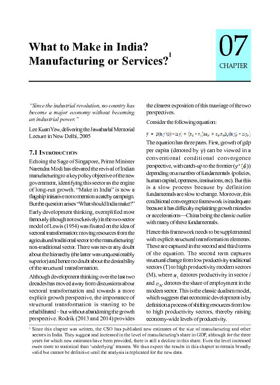 What to Make in India?Manufacturing or Services?