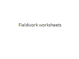 Fieldwork worksheets