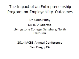 The Impact of an Entrepreneurship Program on Employability