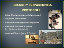 SECURITY PREPAREDNESS PROTOCOLS