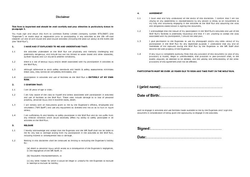 DisclaimerThis form is important and should be read carefully and your