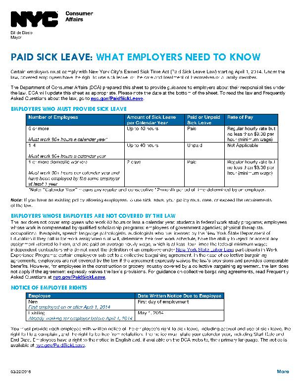 PAID SICK LEAVE: