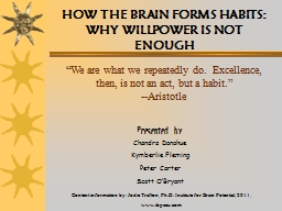 HOW THE BRAIN FORMS HABITS: WHY WILLPOWER IS NOT ENOUGH