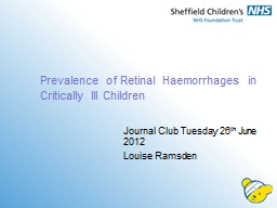 Prevalence of Retinal Haemorrhages in Critically Ill Childr