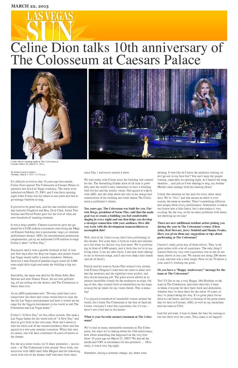 Celine Dion talks 10th anniversary of The Colosseum at Caesars Palace