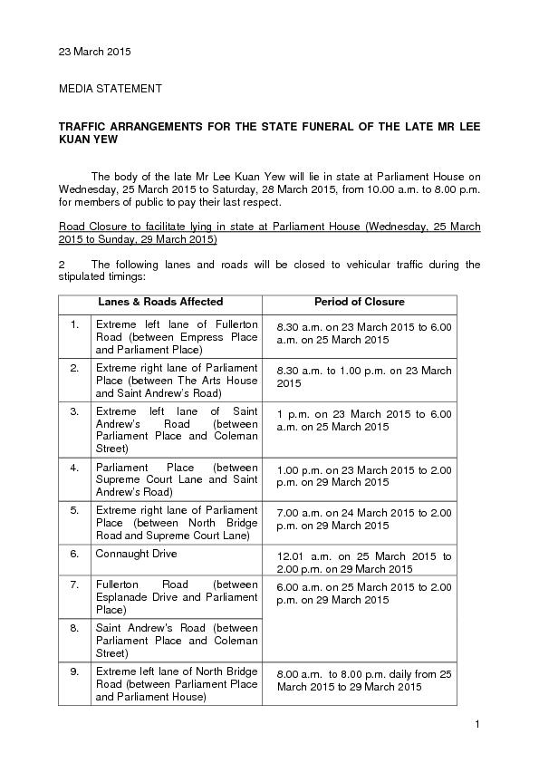 MEDIA STATEMENT TRAFFIC ARRANGEMENTS FOR THE STATE FUNERAL OF THE LATE PowerPoint PPT Presentation