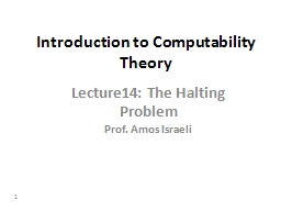 1 Introduction to Computability Theory PowerPoint PPT Presentation