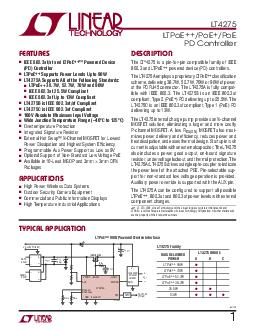 LT  f TYPICAL PPLICA ION FEA URES DESCRIP ION LTPoE  PoE PoE PD Controller The LT  is a pinforpin compatible family of IEEE
