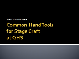 Common Hand Tools PowerPoint PPT Presentation
