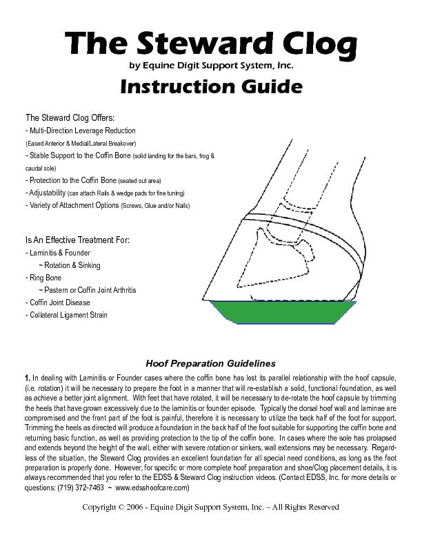 The Steward Clogby Equine Digit Support System, Inc.Instruction GuideH