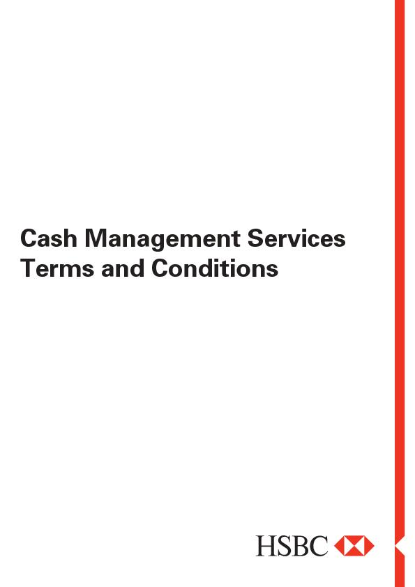 Cash Management ServicesTerms and Conditions