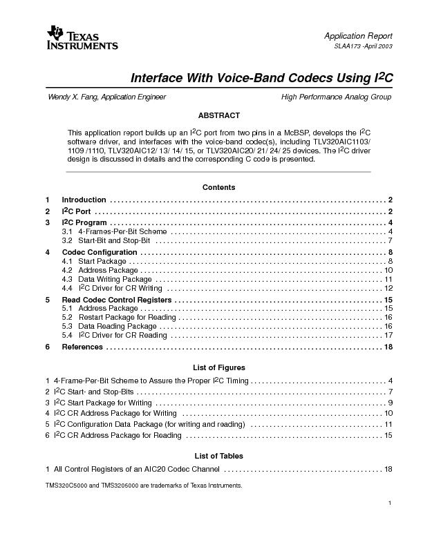 SLAA173 -April 2003Interface With Voice-Band Codecs Using IWendy X. Fa