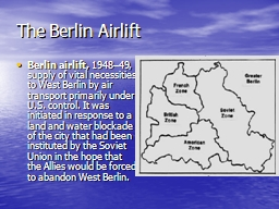 The Berlin Airlift PowerPoint PPT Presentation