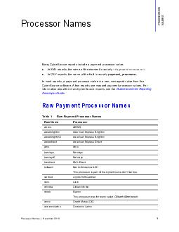 Processor Names December  Processor Names Many CyberSource reports include a payment processor value In XML reports the name of the element is usually
