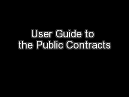 User Guide to the Public Contracts