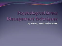 Psychological Stress Management Techniques