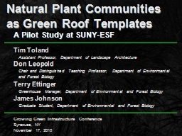 Natural Plant Communities as Green Roof Templates
