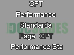 CPT Performance Standards Page  CPT Performance Sta