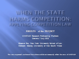 WHEN THE STATE HARMS COMPETITION: